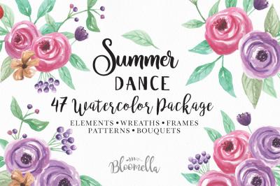 Watercolour Sumer Dance Flowers Wedding Package Pretty Florals