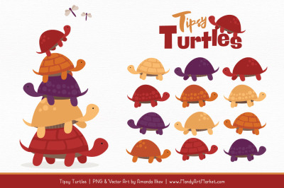 Sweet Stacks Tipsy Turtles Stack Clipart in Autumn