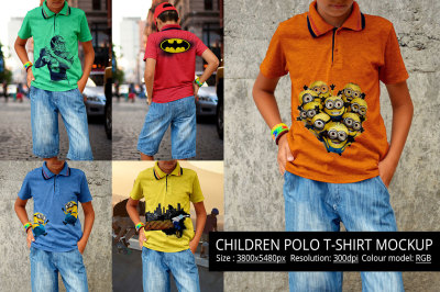 Children Polo T-shirt Mockup