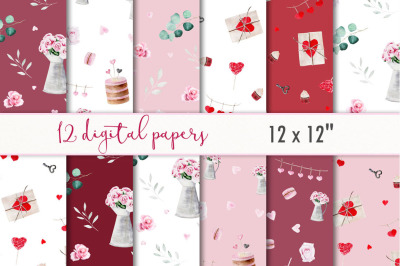 Valentines digital paper set