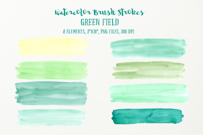 Watercolor Brush Strokes Green Field