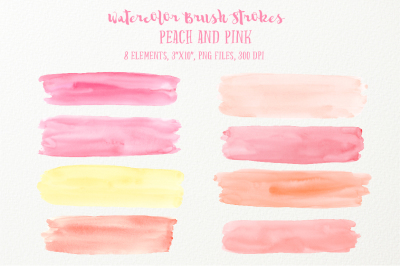 Watercolor Brush Strokes Peach Pink