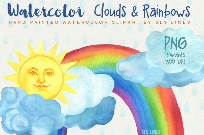 Watercolor Clouds & Rainbows