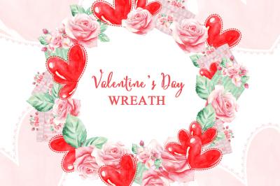 Valentine's Day Wreath, Heart, Balloons, Retro, Red, Gift, Wreath