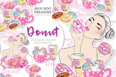 Watercolor Donut Clipart,Party, Breakfast, Food Clip Art Dessert