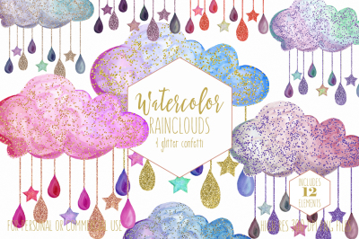 Cute Watercolor Rain Clouds & Drops