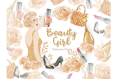 Beauty Girl Clipart, Watercolor Clipart, Beauty Nail Woman, Gold Bag,