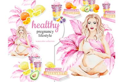 Watercolor Healthy Pregnancy Lifestyle, Fruits, Flower, Avocado, Lemon