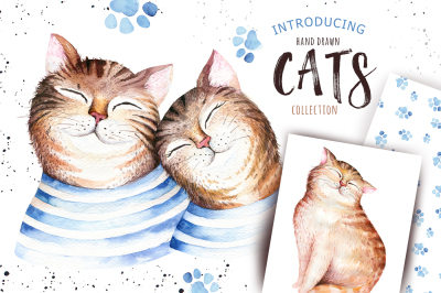 Watercolor cats collection