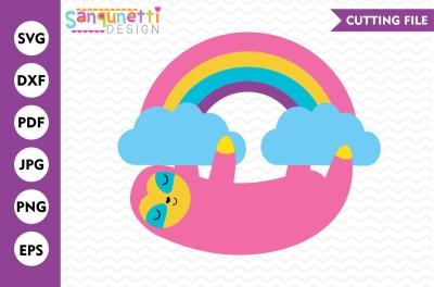 Rainbow Sloth SVG, Sloth SVG, Rainbow SVG