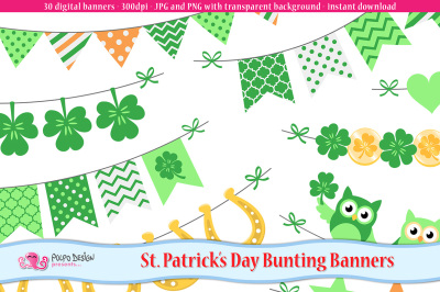 St. Patrick's Day bunting banners clipart