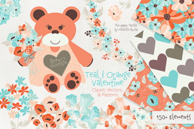 Teal and Orange Valentine -  Floral Clipart, Vectors, Seamless Pattern