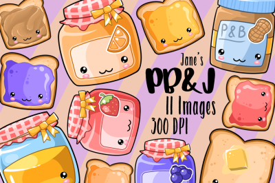 Kawaii Peanut Butter and Jelly Clipart