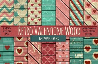 Retro Valentine Wood backgrounds