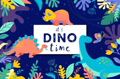 it's DINO time - cute dinosaurs kit