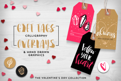 Valentine's day gift tags & overlays