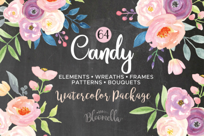 Candy Watercolor Pastel Flower Collection Floral Wedding Pink Package