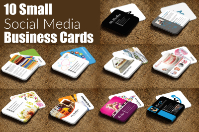 10 Mini Social Media Business Cards Bundle