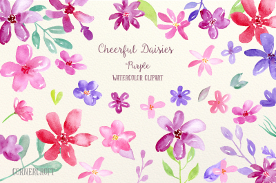 Watercolor Clipart Cheerful Daisies Purple