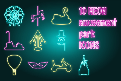 Neon Amusement park icon set.