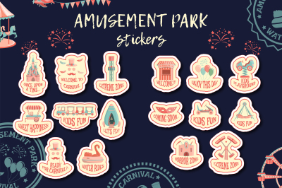 Amusement park stickers collection.