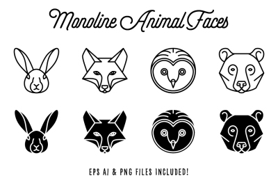 Monoline Animal Faces Vol. 1