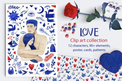 Love. Valentine's day watercolor clip art