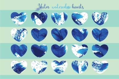 Set of 20 watercolor hearts