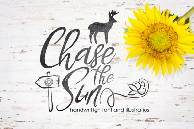 Chase The Sun. Font & illustrations