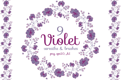 Violet pre-made wreaths and seamless brushes