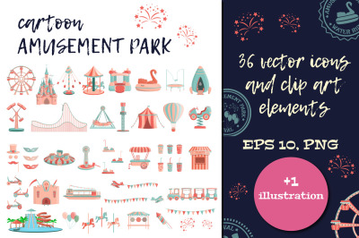 Cartoon amusement park ICON SET.