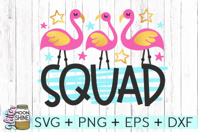Flamingo Squad SVG DXF PNG EPS Cutting Files