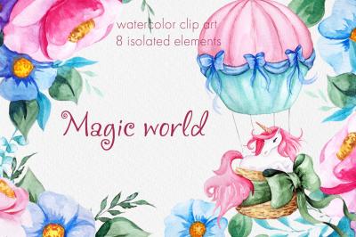 Magic world. Watercolor unicorn clipart