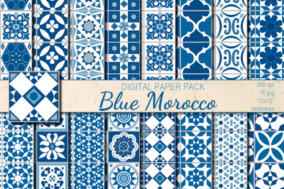 Blue Morocco Ethnic seamless patterns