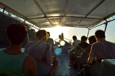friends travel, ride on boat, yacht. trip on excursion sunset tour