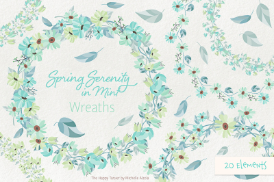 Spring Serenity in Mint Wreath Flower Clipart, Vectors
