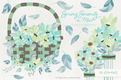 Spring Serenity in Mint Flower Arrangement Clipart, Vectors