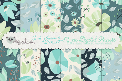Spring Serenity in Mint Seamless Pattern Designs and Digital Papers