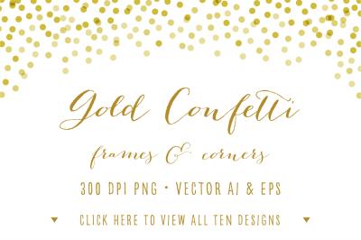 Gold Confetti Frames & Corners