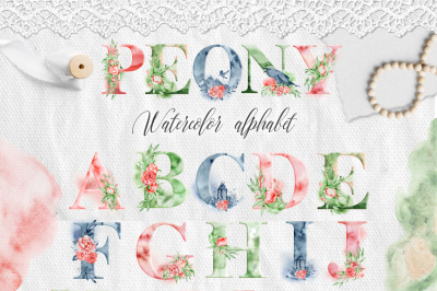 Watercolor Peonies Alphabet ClipArt