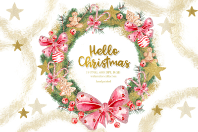 Watercolor Christmas Gold Wreath