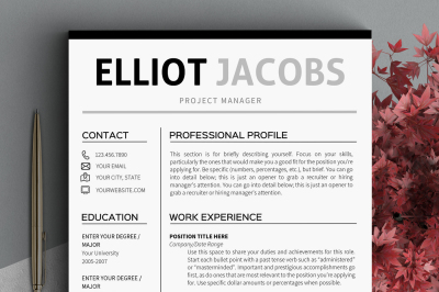 Minimalist Resume template Instant download Clean CV