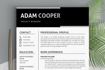 Resume template instant download Clean resume templates Professional r