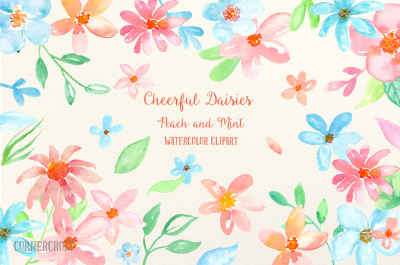 Watercolor Clipart Cheerful Daisies Peach and Mint