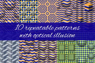 Optical illusion patterns set