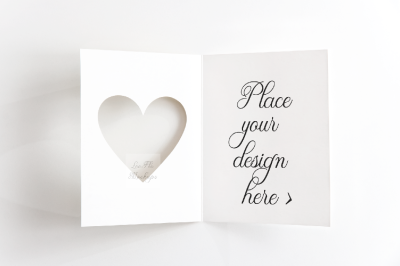 A 2 Greeting card template perspective mockup psd valentines mock up