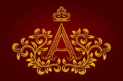 Patterned golden letter A monogram