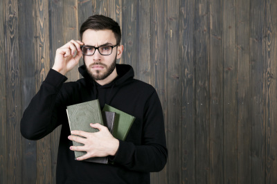 thinker with books