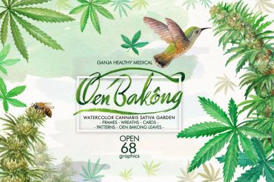 Watercolor Cannabis Sativa