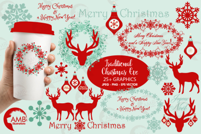 Christmas graphics, clipart, illustrations AMB-1117